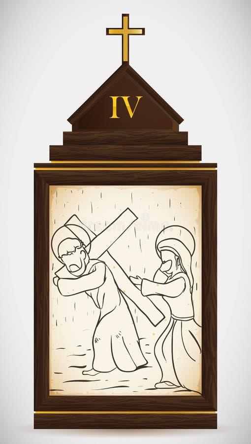 Jesus Meets sua mãe, ilustração do vetor ilustração royalty free