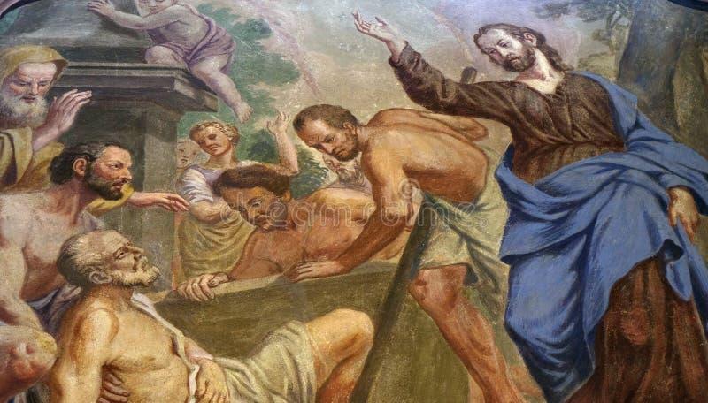 Jesus Miracles die - Lazarus opheffen royalty-vrije stock fotografie