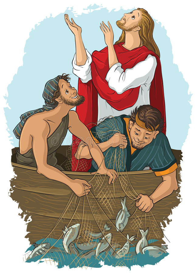 Jesus and the miraculous catch of fish royalty free illustration