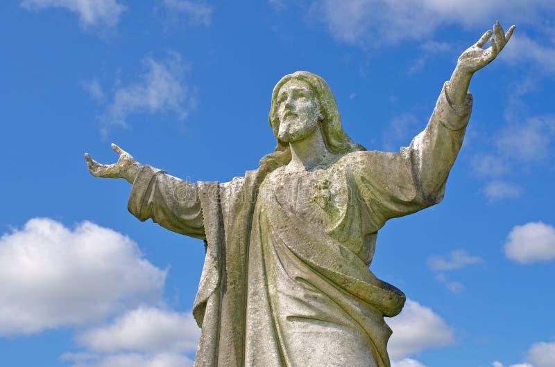 Jesus mit Augen zum Himmel stockfotografie