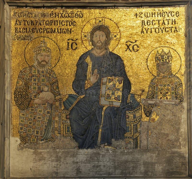 Jesus mosaic. From hagia sophia. istanbul-turkey stock photo