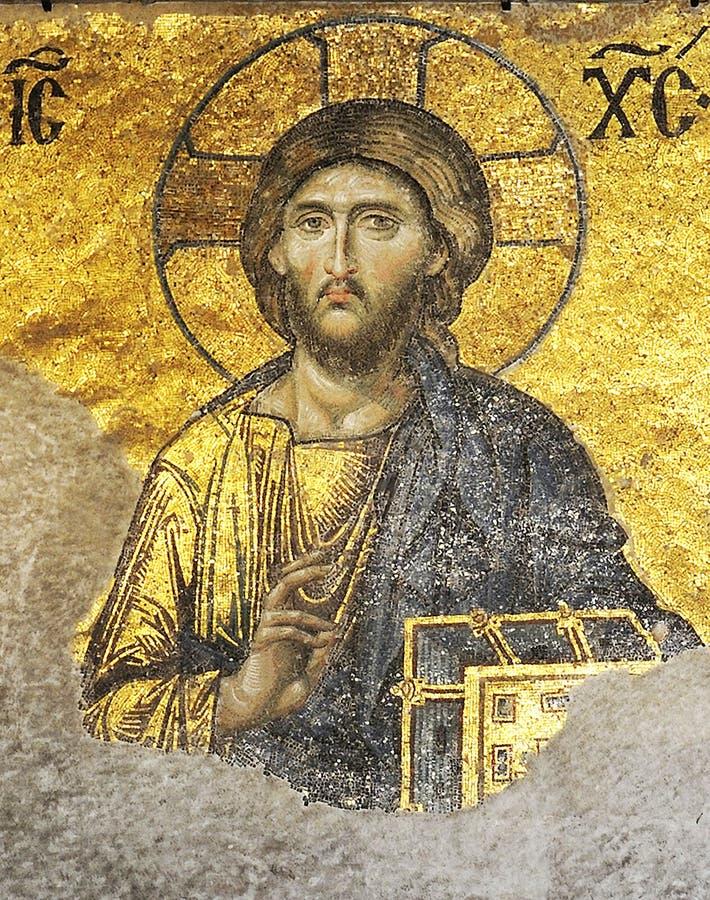 Jesus mosaic. From hagia sophia. istanbul-turkey stock photos