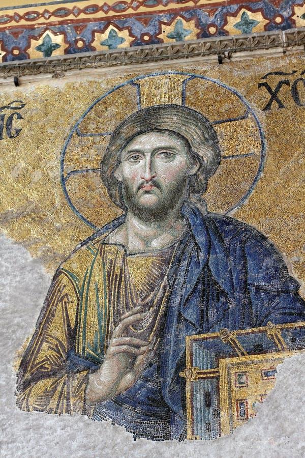 Jesus Mosaic in Hagia Sophia Istanbul. Famous Jesus mosaic on the walls of the Hagia Sophia in Turkey royalty free stock photos