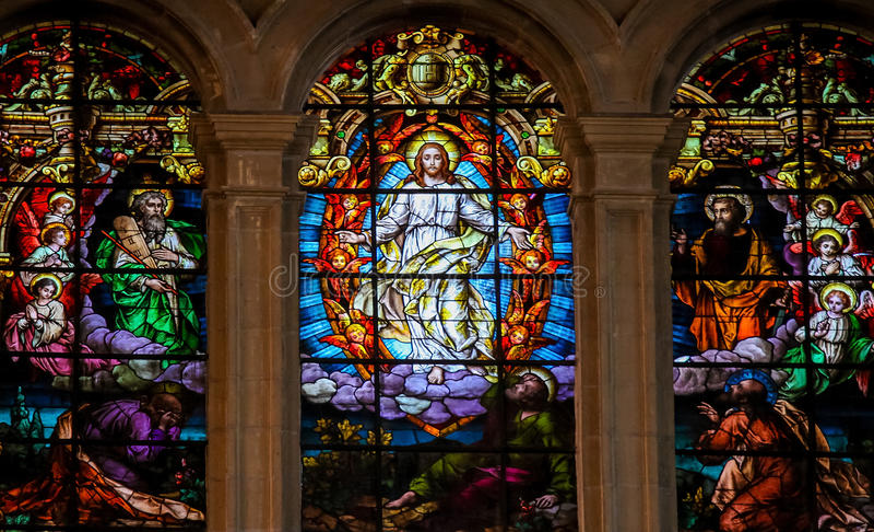 Jesus, Moses und Saint Paul - Buntglas stockfotografie