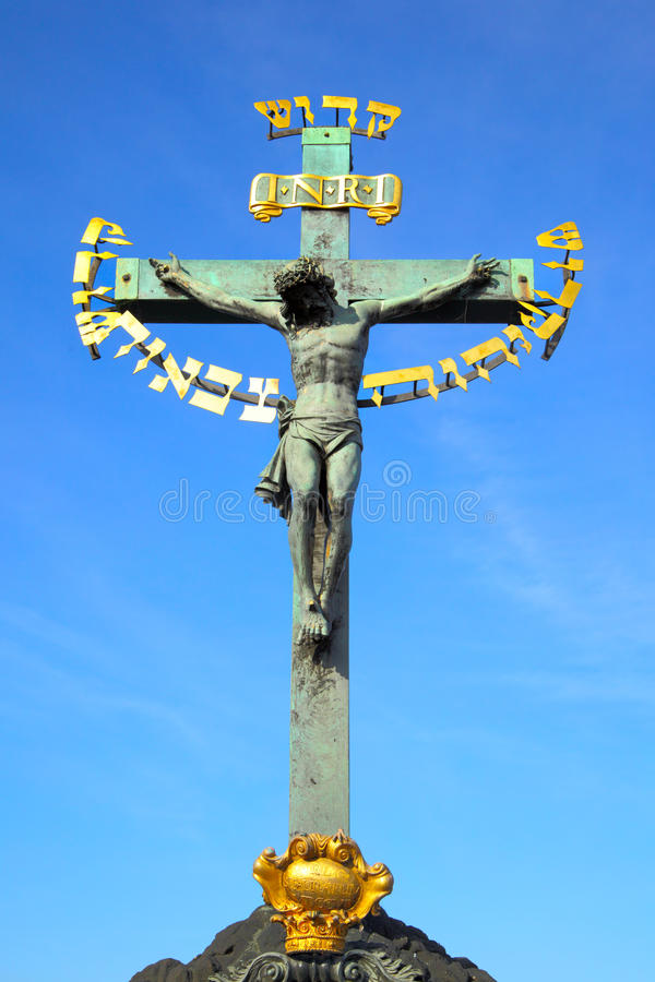Jesus na cruz fotografia de stock royalty free