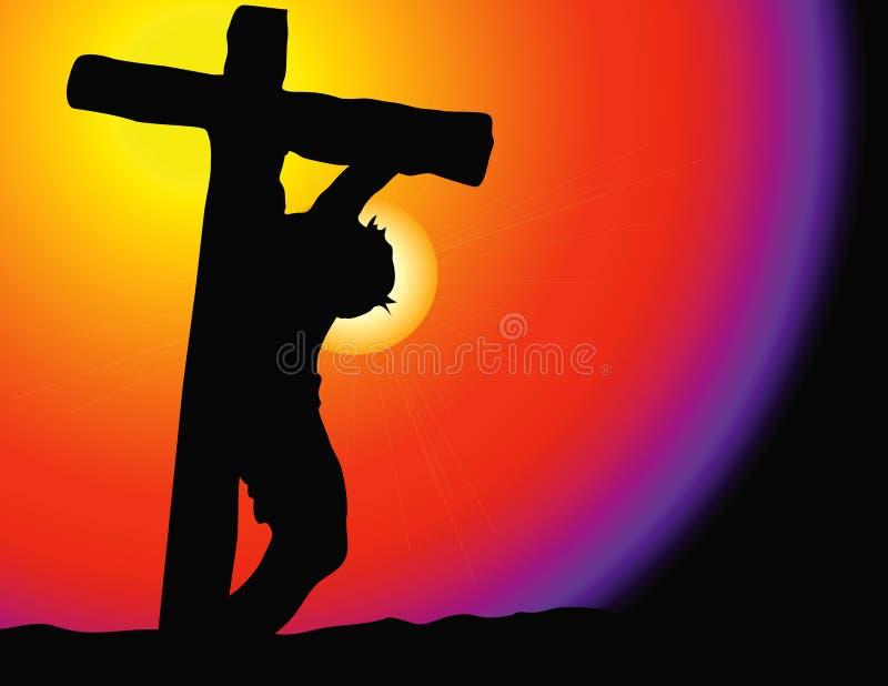 Jesus na cruz ilustração do vetor