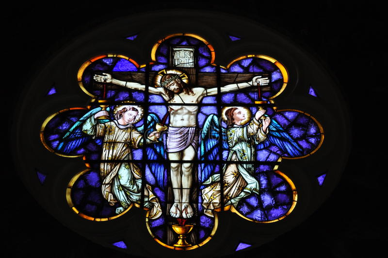 Jesus na cruz um mosaico fotos de stock royalty free