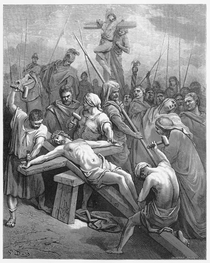 Jesus Is Nailed aan het Kruis stock illustratie