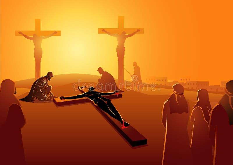 Jesus Is Nailed a la cruz ilustración del vector