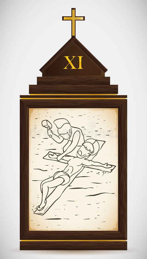 Jesus is Nailed to the Cross, Vector Illustration royalty free stock photography