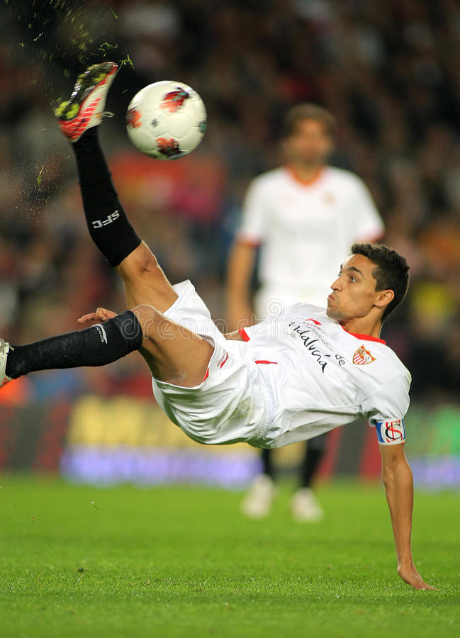 Jesus Navas of Sevilla FC stock photography