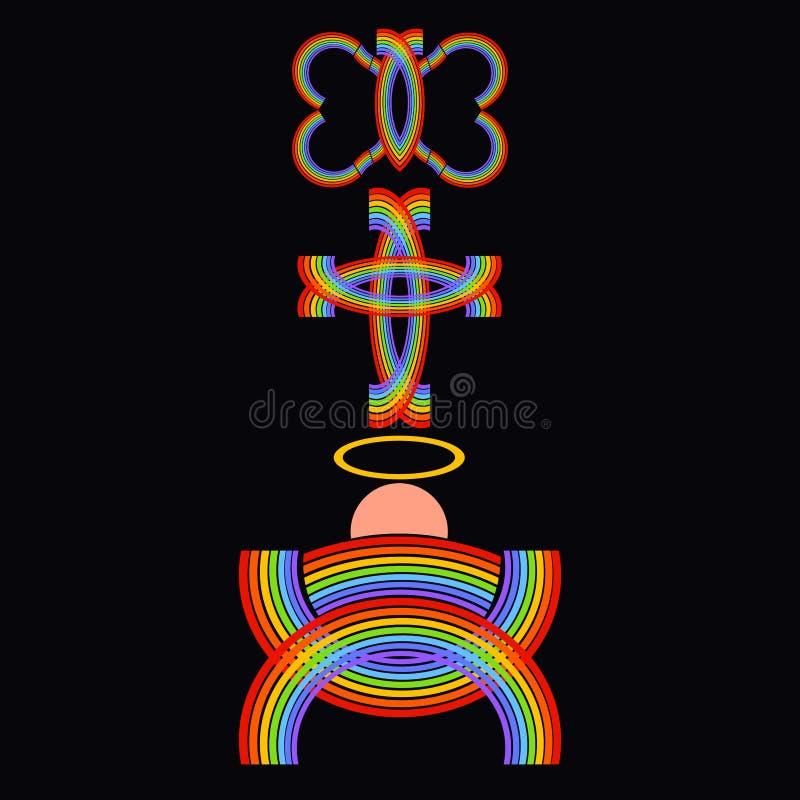 Jesus no comedoiro, na cruz e na borboleta, o arco-íris da promessa, a missão dos salvadores fotografia de stock
