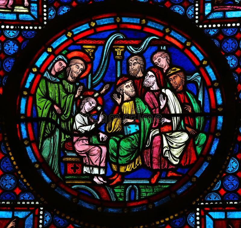Jesus no templo imagens de stock