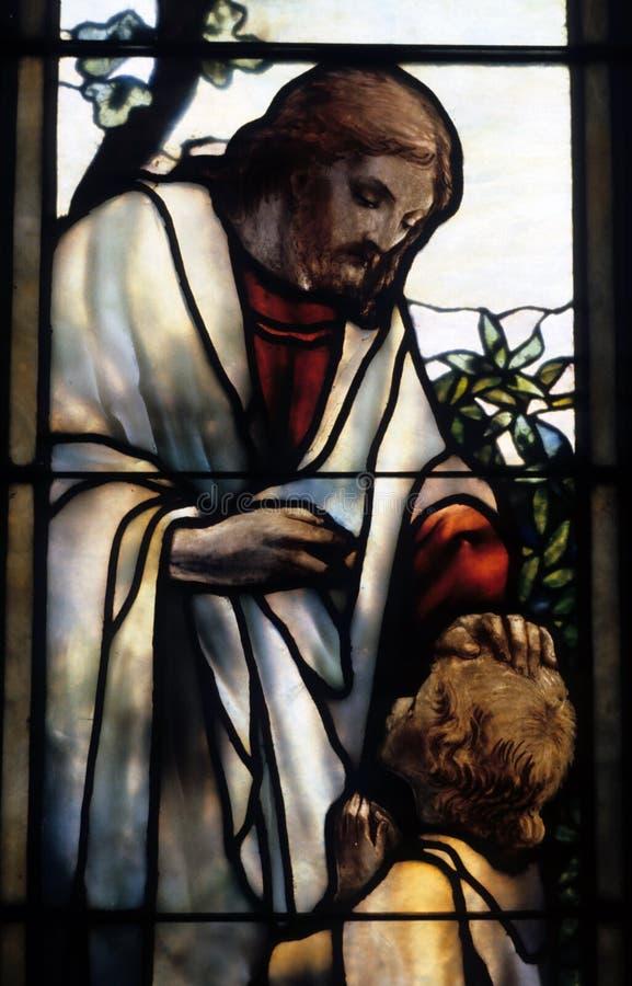 Jesus no vidro imagens de stock royalty free
