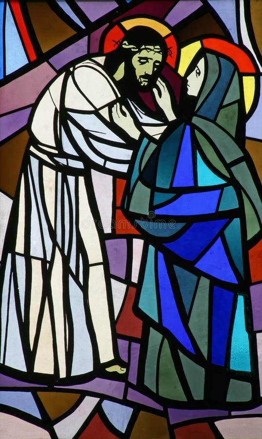 Jesus ontmoet Zijn Moeder stock afbeeldingen