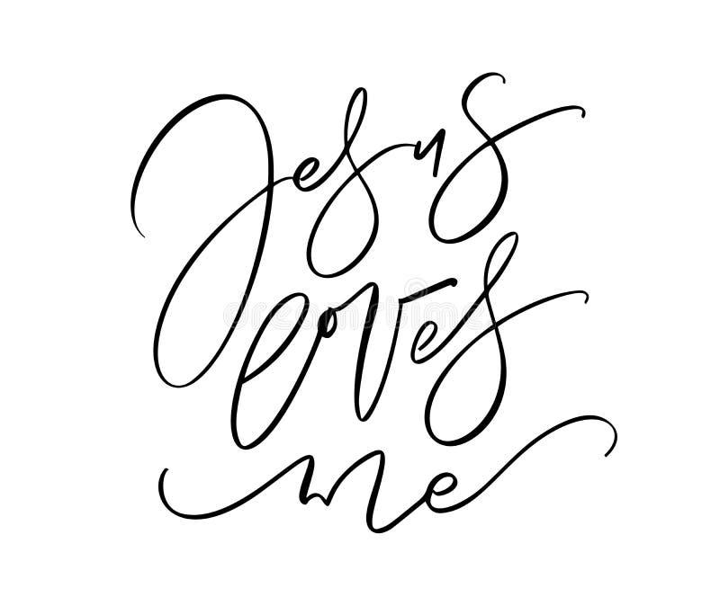 Jesus ooit me hand geschreven kalligrafie van letters voorziende tekst Christendomcitaat voor ontwerp, banner, de bekleding van d royalty-vrije illustratie
