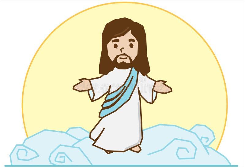 Jesus op de wolk vector illustratie