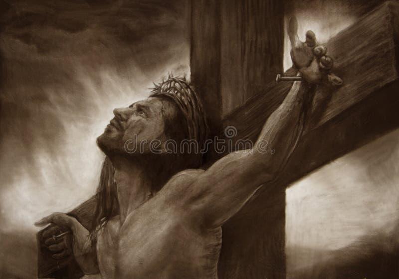 Jesus op het calvary kruis royalty-vrije illustratie