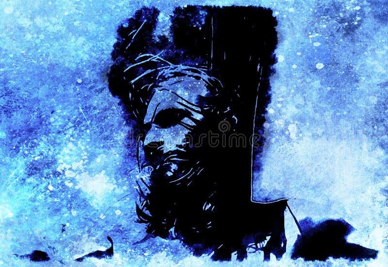 Jesus op het kruis, avanrgard interpretatie met grafische stylization De wintereffect stock illustratie