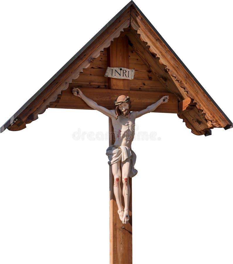 Jesus op het kruis op witte achtergrond wordt geïsoleerd die Kruisiging Houten kruisbeeld met beeltenis van Christus stock foto's
