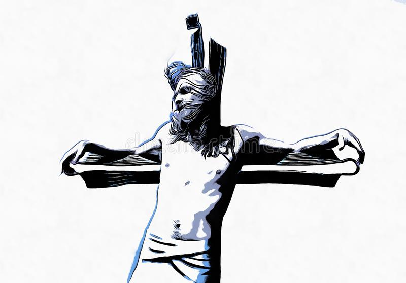 Jesus på korset, avanrgardtolkning med grafisk stylization arkivbild
