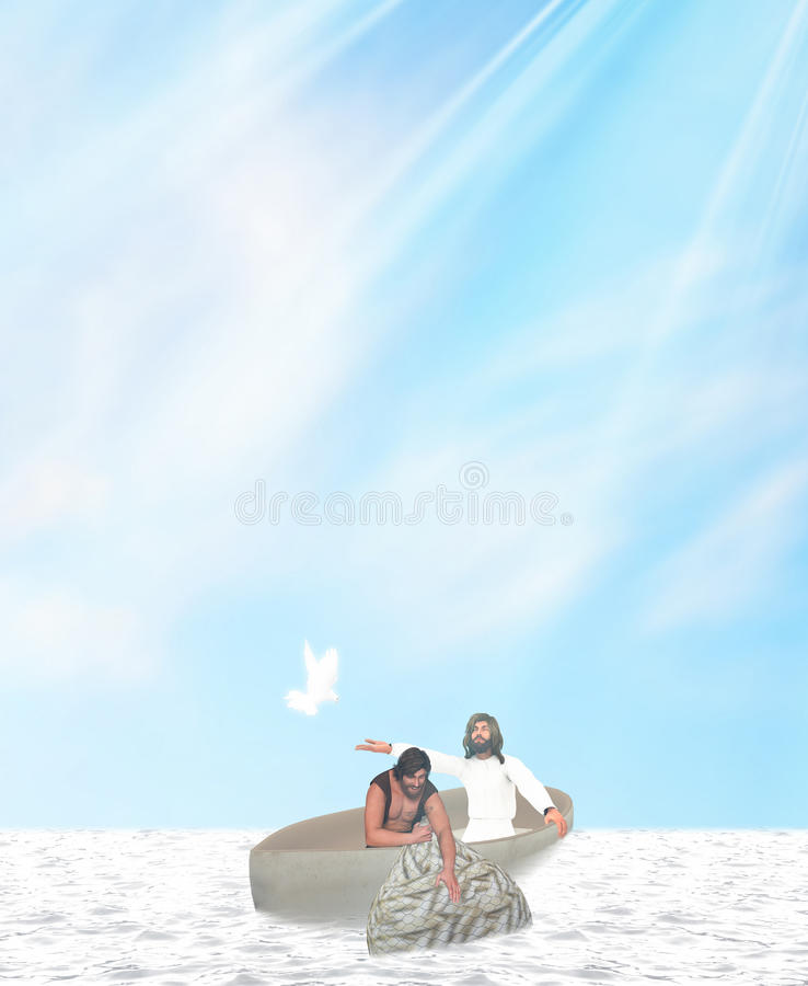 Jesus Peter Miraculous Catch Of Fish royalty free illustration