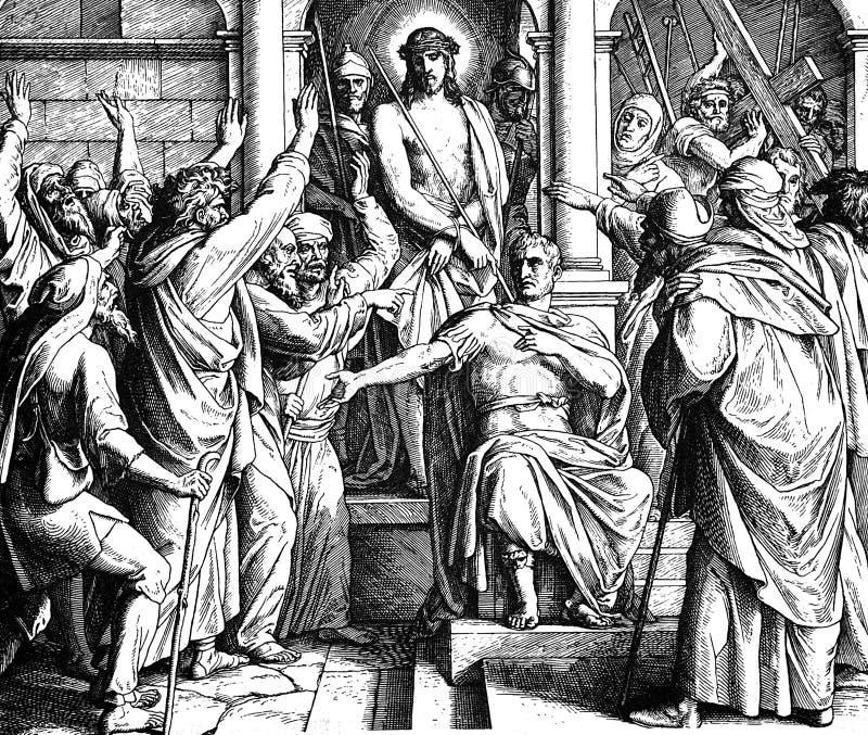 Jesus Before Pilate fotografia de stock royalty free
