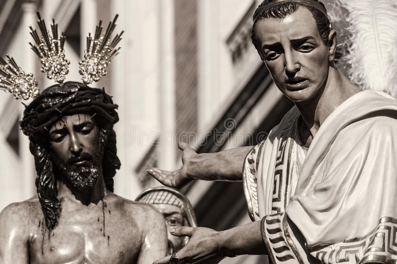 Jesus before Pilate, Holy Week in Seville, Brotherhood of San Benito royalty free stock photos