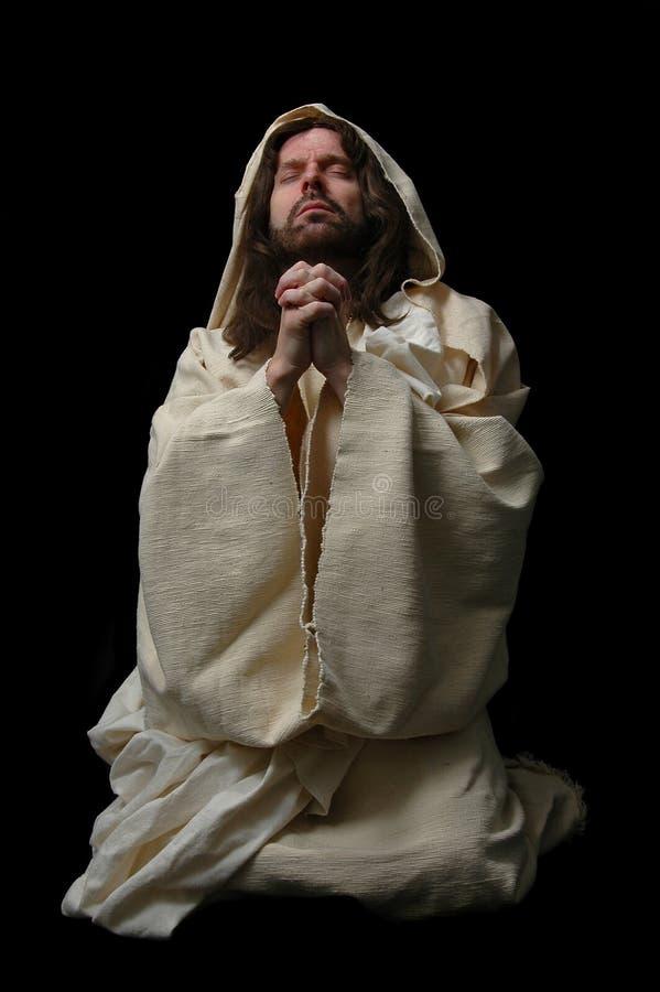 Jesus in prayer_Fulllichaam royalty-vrije stock foto's