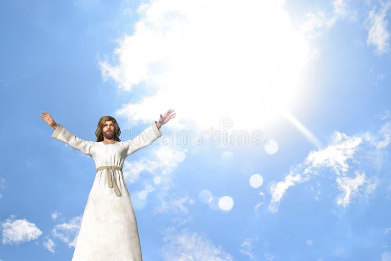 Jesus Praying Healing Blessing ilustração royalty free