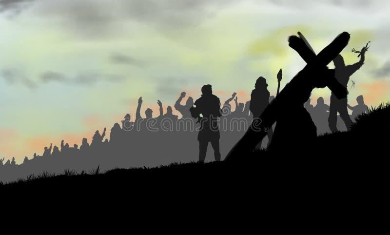 Jesus que carrega a cruz e a caminhada ilustração royalty free