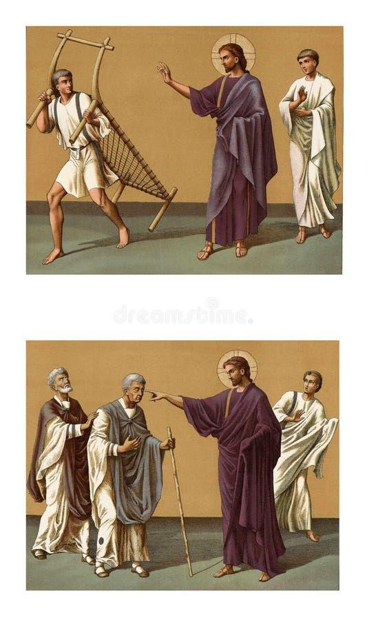Jesus que cura um homem cego ilustração do vetor