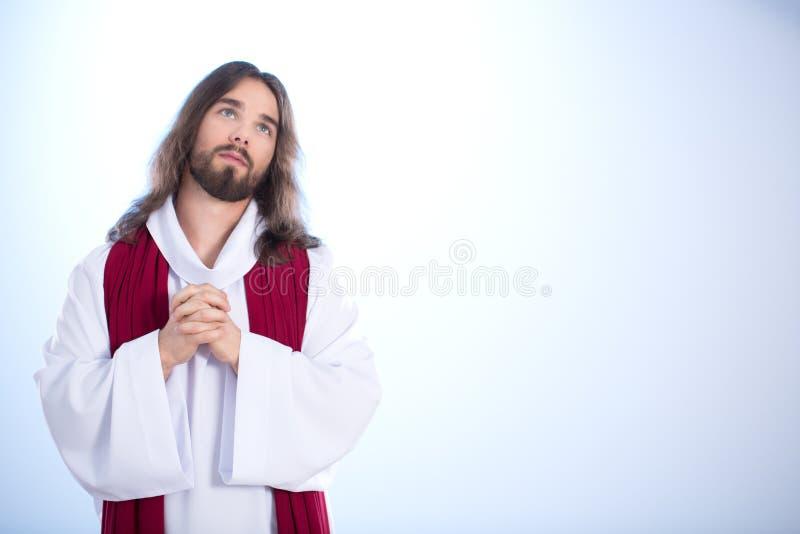 Jesus que fala com deus fotografia de stock