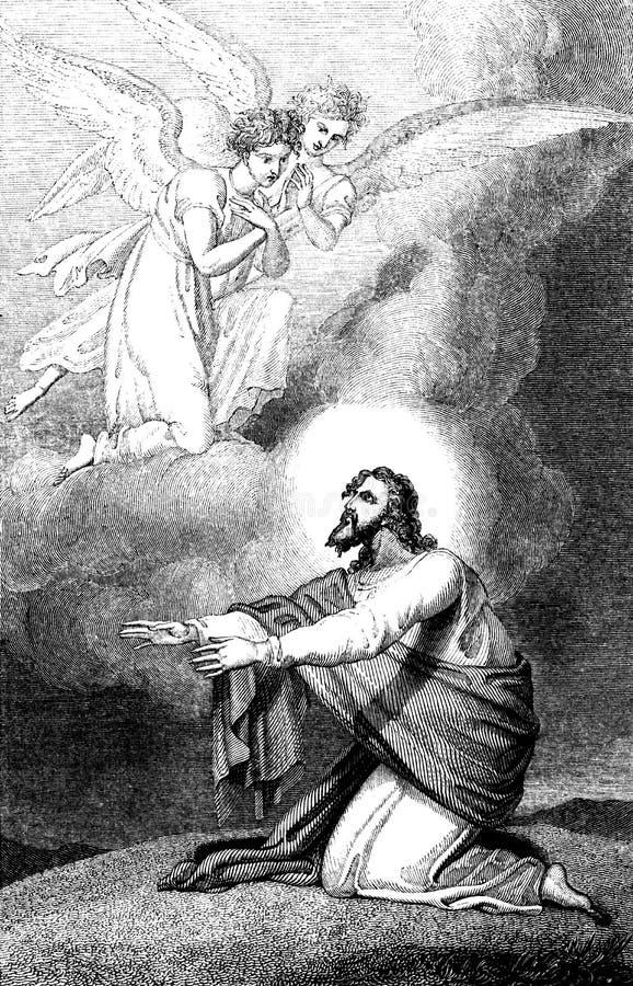 Jesus que reza no Monte das Oliveiras ilustração do vetor