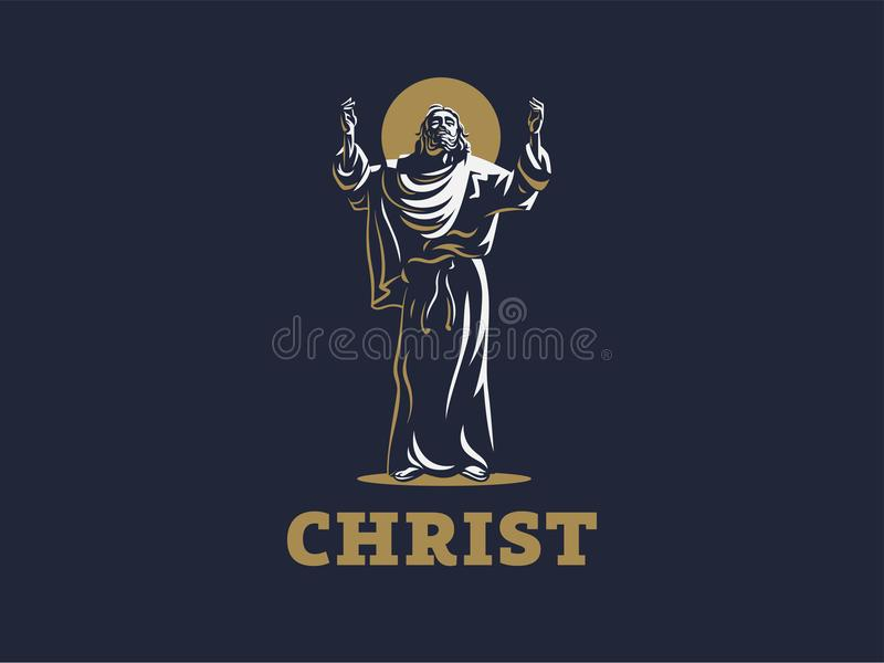 Jesus raised his hands in prayer. royalty free illustration