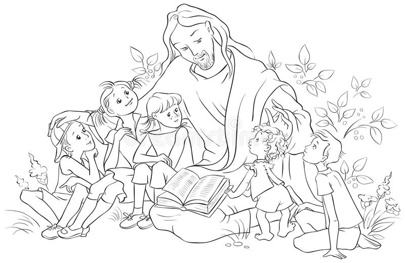 black and white bible coloring pages | Jesus Reading The Bible To Children. Coloring Page Stock ...