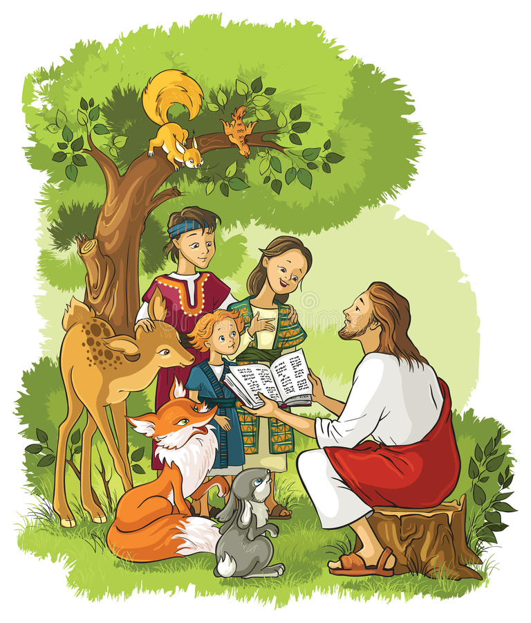 Free Jesus Reading The Bible To Children And Animals Stock Photos - 79913543