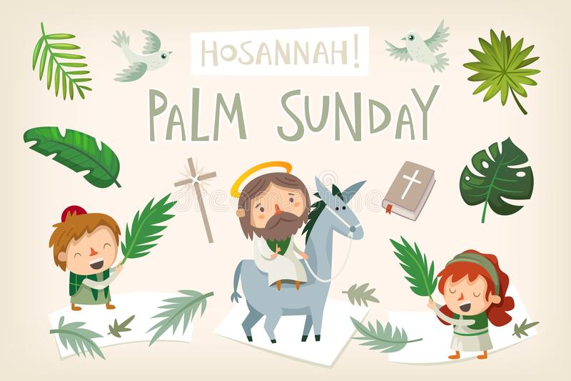 Jesus-Reitesel, der Jerusalem auf Palmsonntag kommt lizenzfreie abbildung