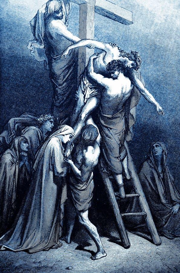 Jesus Removed från korset stock illustrationer