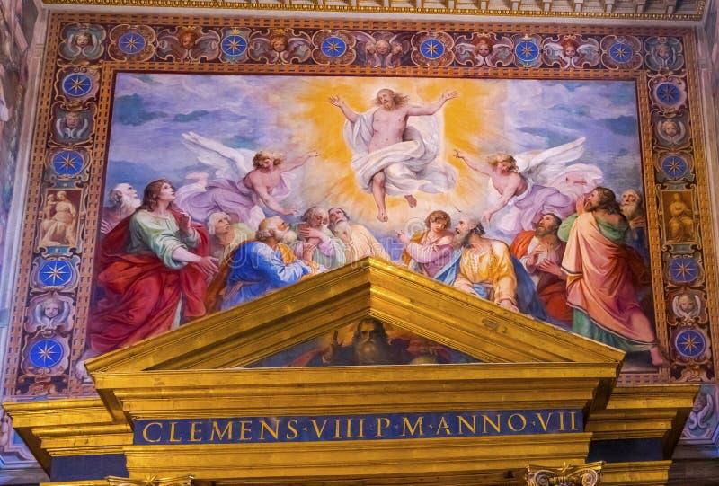 Jesus Resurrection Fresco Basilica Saint John Lateran Cathedral Rome Italy immagini stock