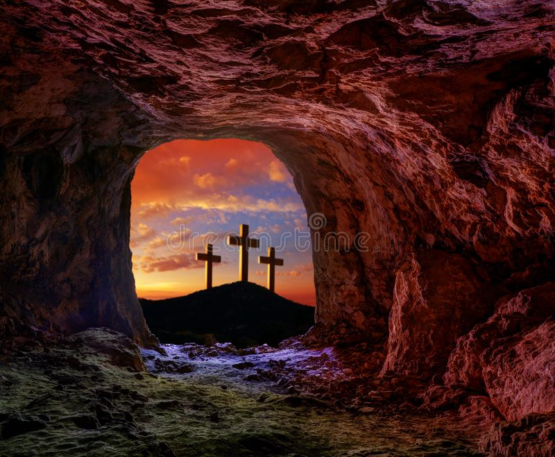 Jesus resurrection sepulcher grave cross. Crucifixion concept photo mount royalty free stock photo