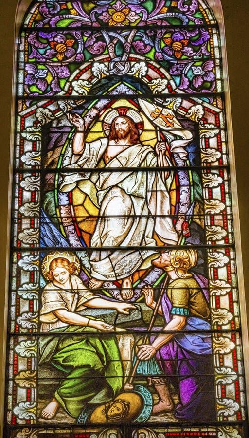 Jesus Resurrection Sined Glass Saint Mary & x27; de katholieke kerk San Antonio Texas royalty-vrije stock foto's