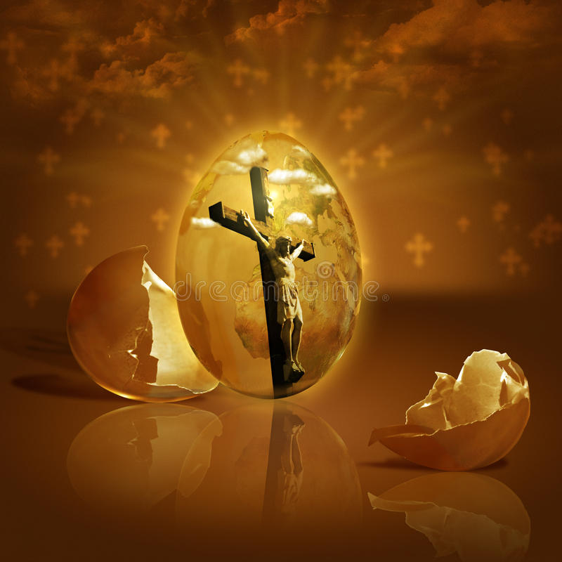 Jesus rose from the dead on Easter. Easter is celebrating Jesus victory over death and mankind's hope for eternal life. Digital composite. Photo and hand-drawing royalty free stock images