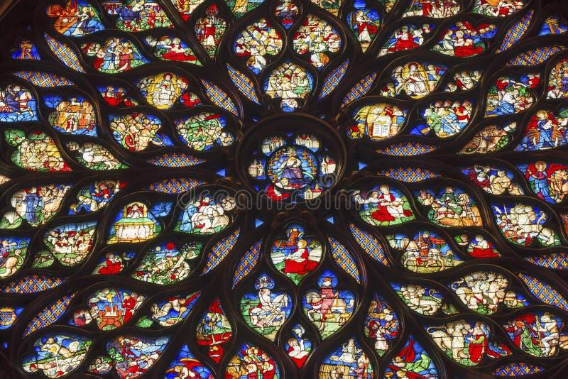 Jesus Rose Window Stained Glass Sainte Chapelle Paris France royaltyfri fotografi