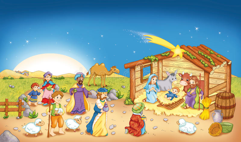 Jesus's birth. Color digital illustration that represents the scene of the Jesus's birth