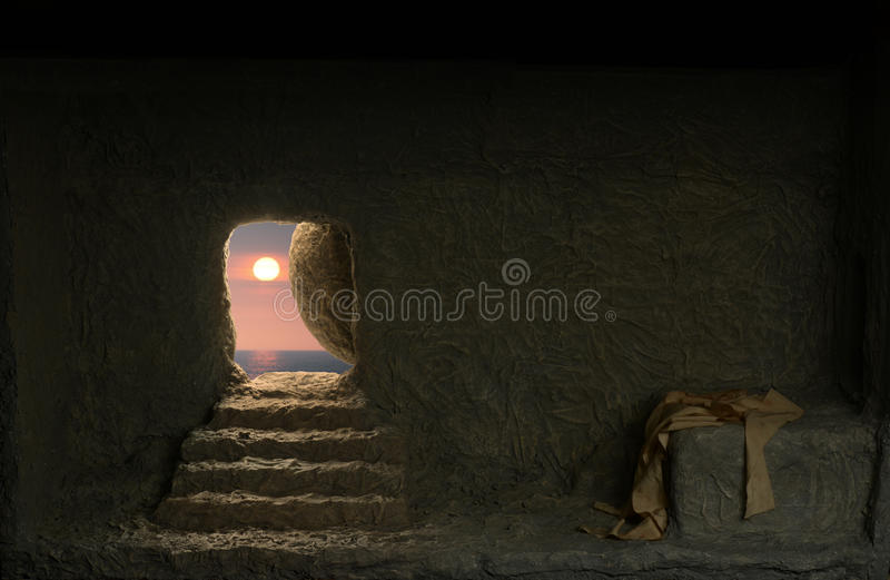 Jesus`s Tomb. Jesus`s empty Tomb seen from the inside with light comming from the outside stock photography