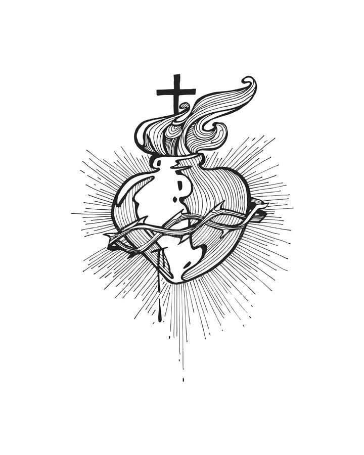 Jesus Sacred Heart b illustration stock