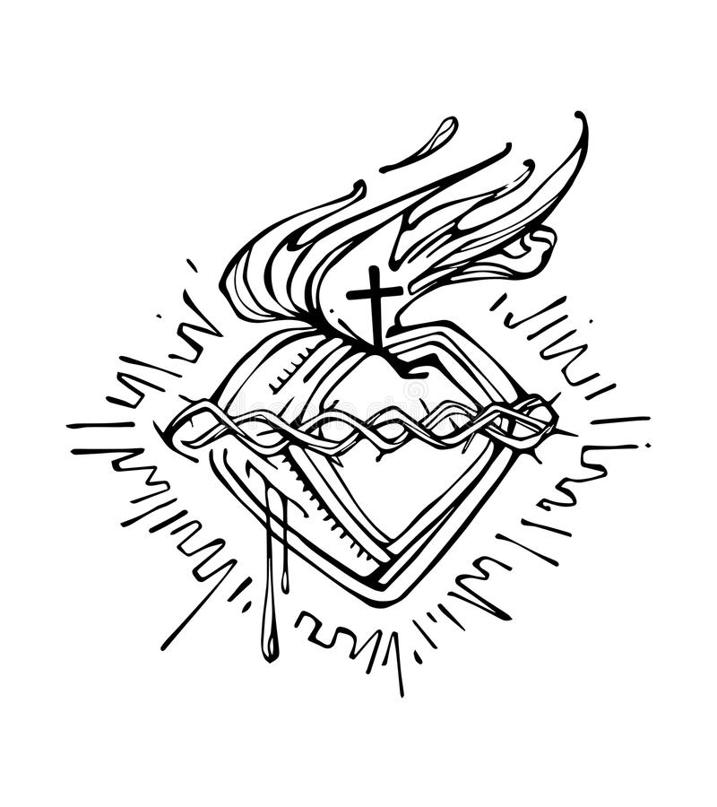This is a photo of Sizzling Sacred Heart Drawing