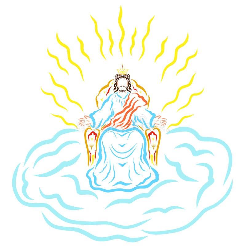 Jesus sammanträde på en biskopsstol i en krona, på ett moln, strålglans av ho stock illustrationer