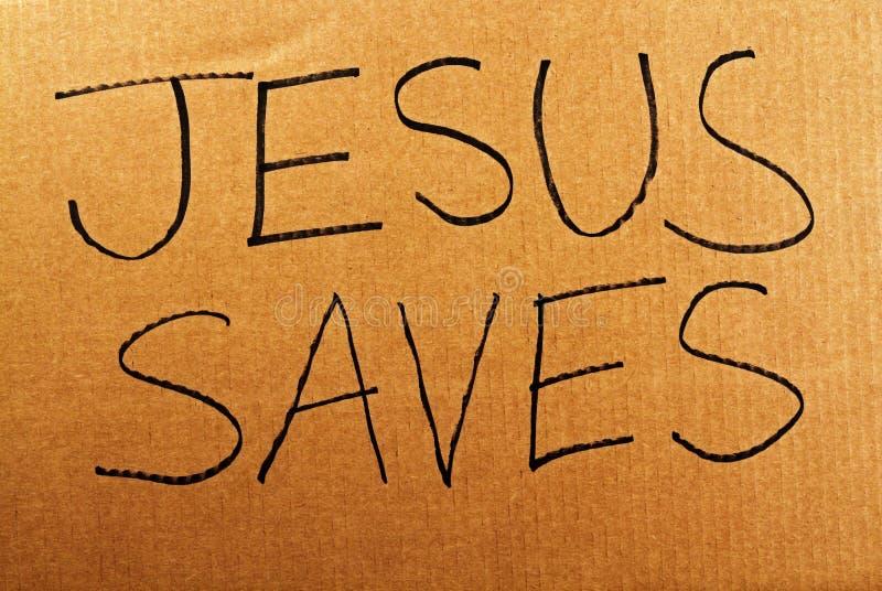 Jesus Saves Cardboard Sign fotografia stock libera da diritti